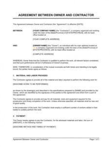 Costum Owner Builder Contract Template Pdf Example