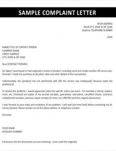 Customer Service Complaint Response Letter Template  Sample
