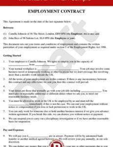 Editable Management Employment Contract Template Excel Sample