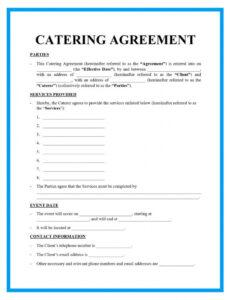 Free Catering Service Contract Template  Example