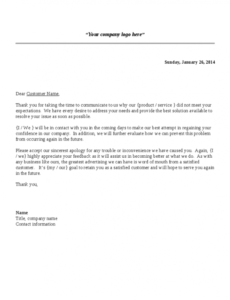 Free Customer Service Complaint Response Letter Template Word Example