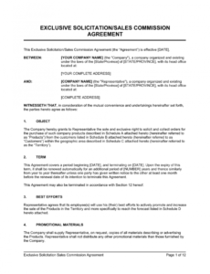 Free Exclusive Rights Contract Template Excel Sample