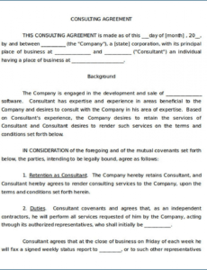 Free It Consulting Contract Template Word Example