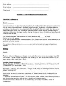 Free Lawn Service Contract Template Pdf Sample
