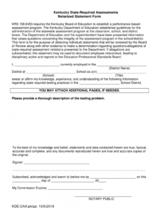 Free Notary Statement Template Pdf