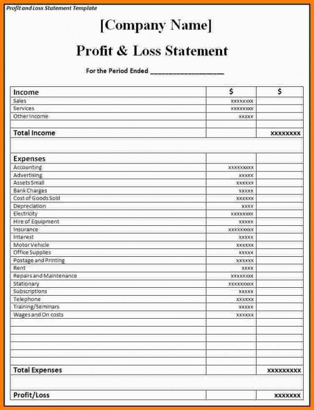Free Profit And Loss Statement For Restaurant Template Doc