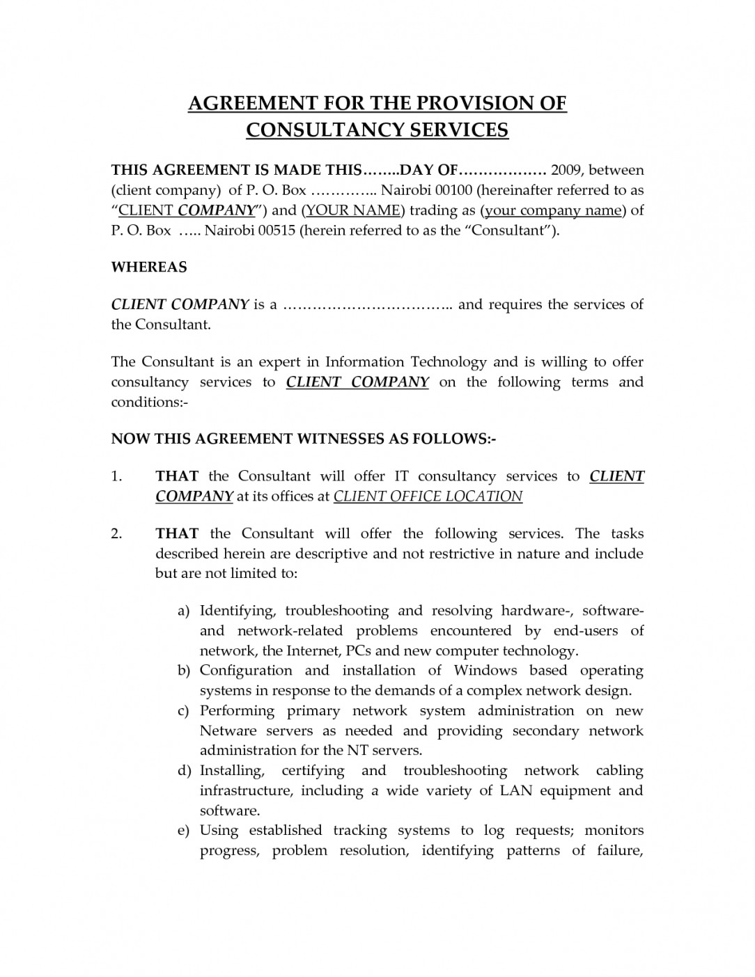 Free Sales Consulting Contract Template Excel Example