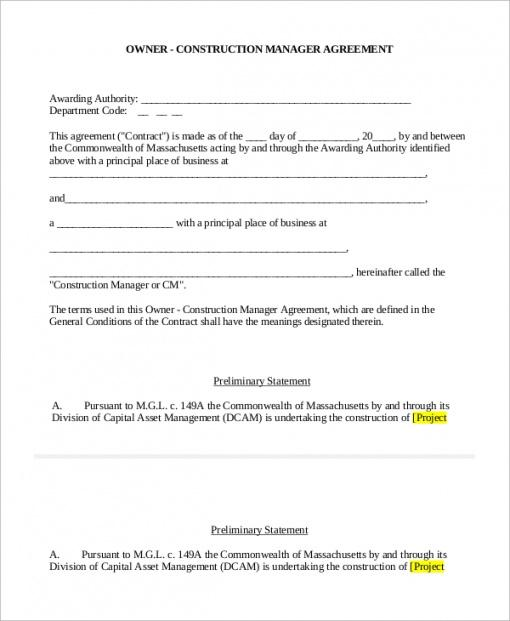 Free Standard Construction Contract Template Pdf