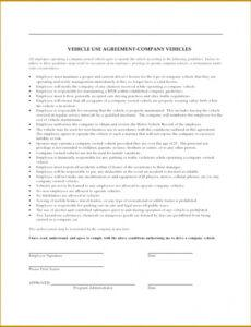 Printable Company Vehicle Policy Template Doc Example