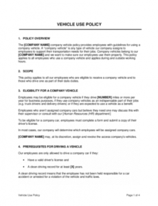 Printable Company Vehicle Policy Template  Example