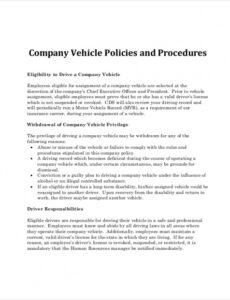 Printable Company Vehicle Policy Template Excel