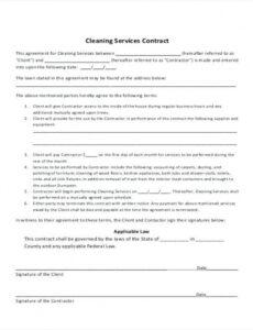 Printable Janitorial Cleaning Contract Template Excel Example