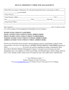 Printable New Landlord Letter Template Pdf Example