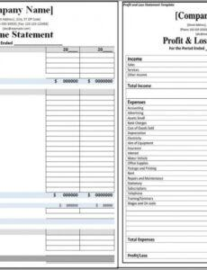 Printable Profit And Loss Statement For Restaurant Template Doc Example