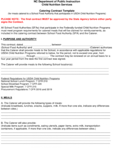 Professional Catering Service Contract Template Doc