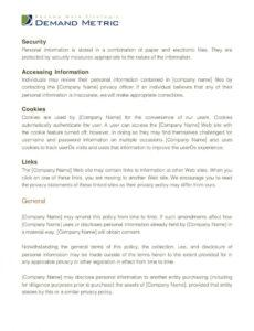 Professional Company Privacy Policy Template Excel Sample