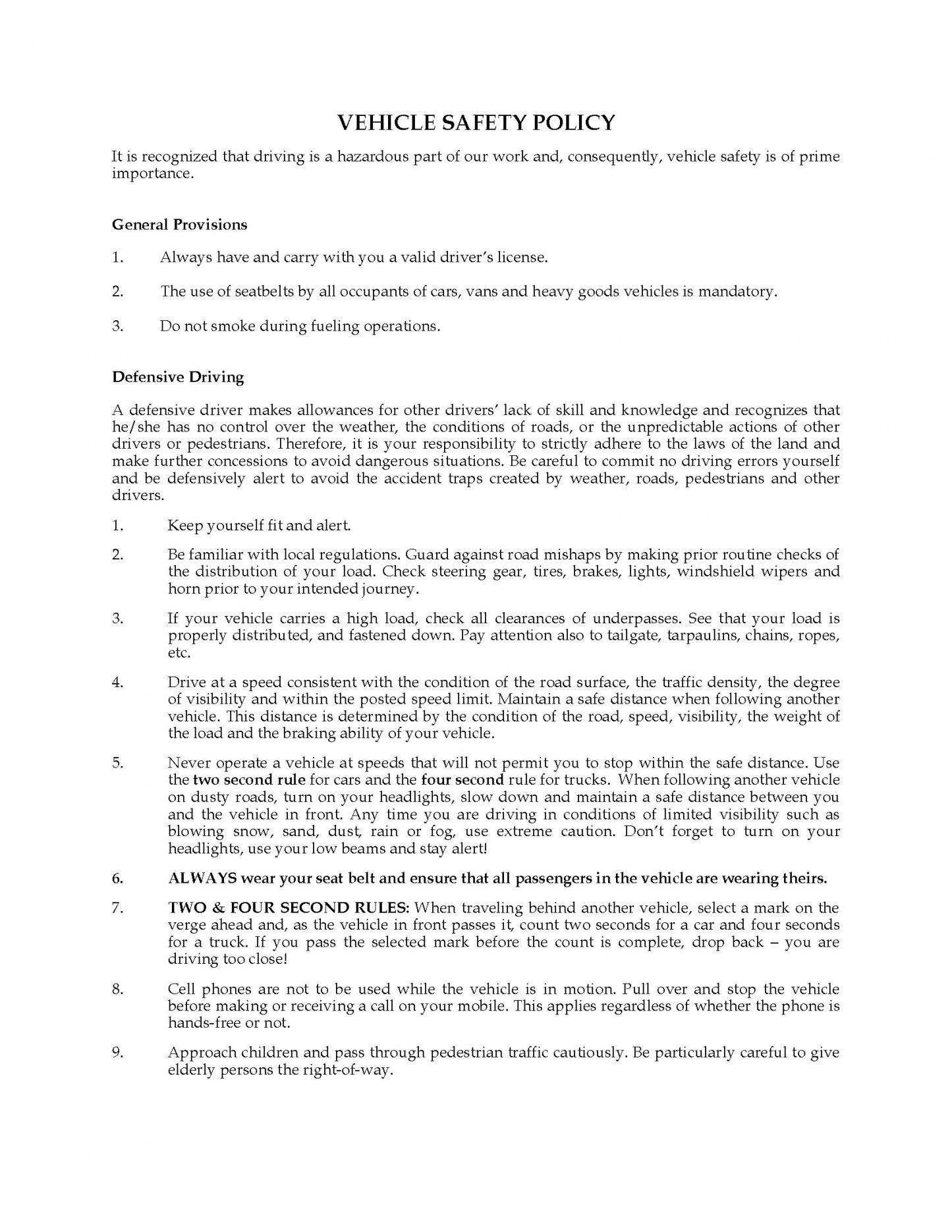 Professional Company Vehicle Policy Template  Example