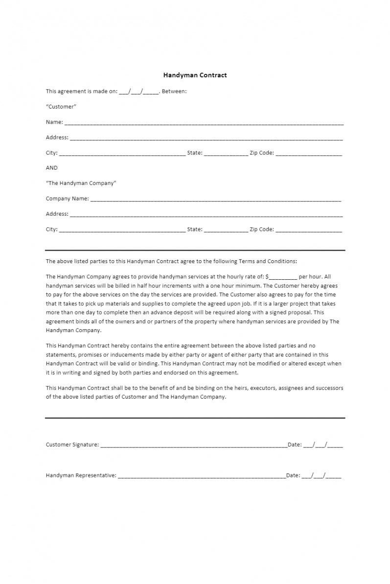 Professional Handyman Service Contract Template Doc