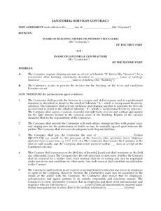 Professional Janitorial Cleaning Contract Template  Sample