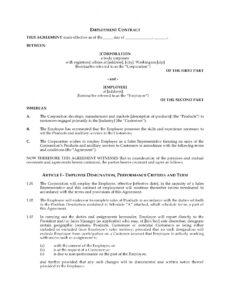 Professional Management Employment Contract Template  Sample