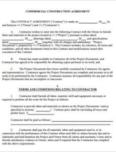 Professional Owner Builder Contract Template Word