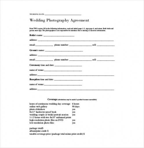 Professional Photography Services Contract Template Doc Sample