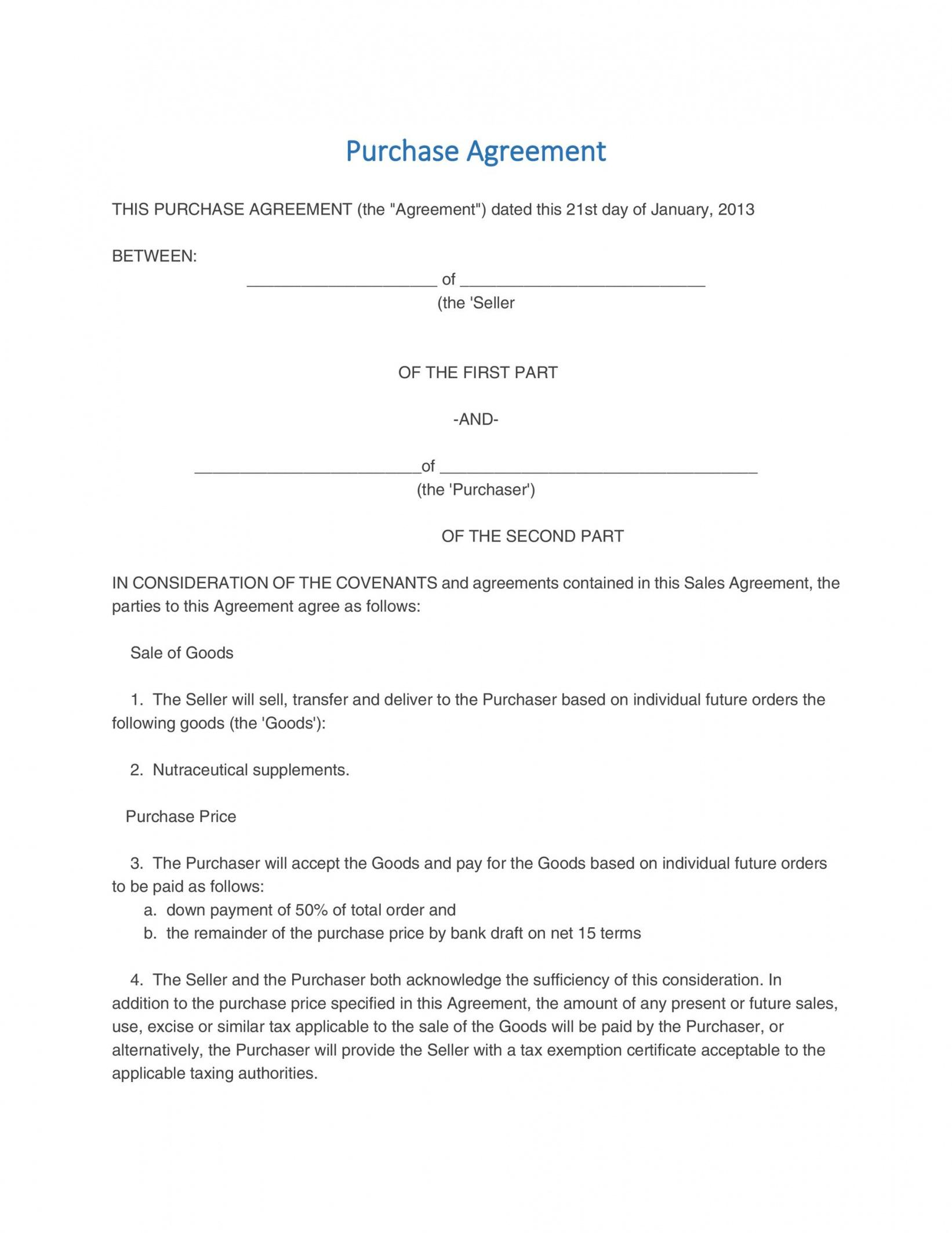 Professional Property Purchase Contract Template