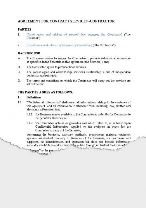 Professional Terms Of Service Contract Template Doc