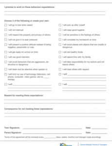 Teenager Contract With Parents Template Excel Example