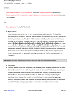 Artist Commission Contract Template Word Sample