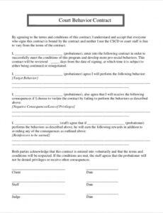 Behavior Contract Template For Elementary Students Excel Example