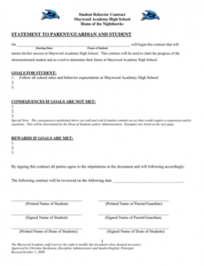 Best Behavior Contract Template For Elementary Students