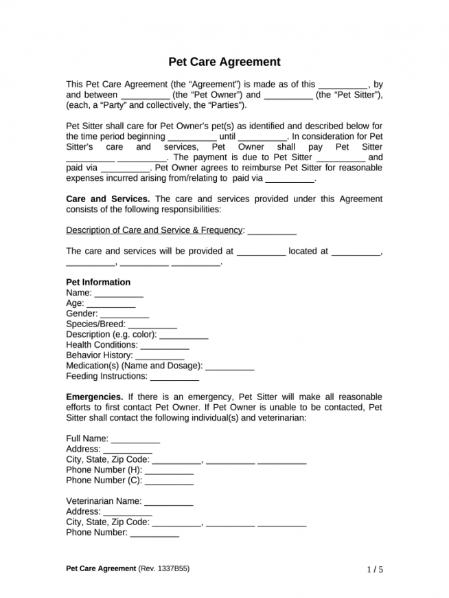 Best Pet Sitting Service Agreement Contract Template