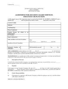 Best Security Guard Service Contract Template  Example