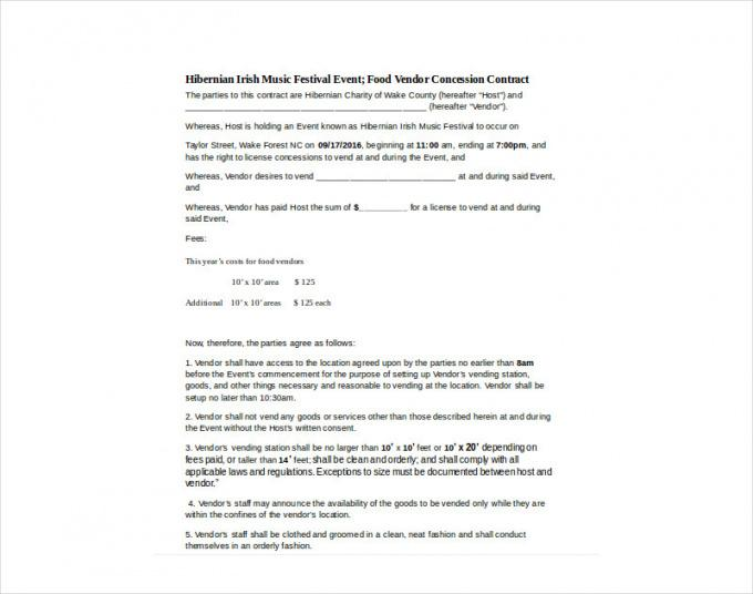 Costum Food Vendor Contract Template  Example