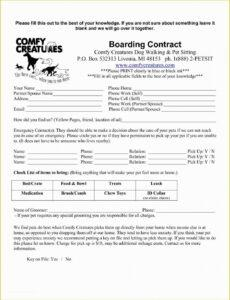 Costum Pet Sitting Service Agreement Contract Template Excel Example