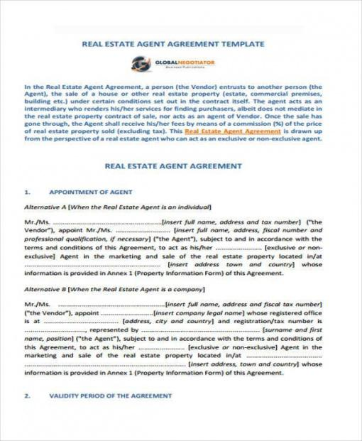 Costum Real Estate Agent Commission Contract Template Word Sample