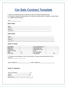 Costum Sale Of Vehicle Contract Template Word Example
