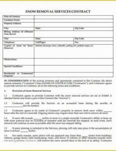 Costum Snow Removal Contract Template Excel Sample
