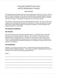 Costum Snow Removal Contract Template Word