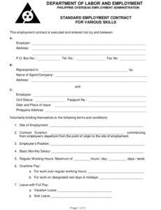 Costum Staffing Agency Contract Template  Example