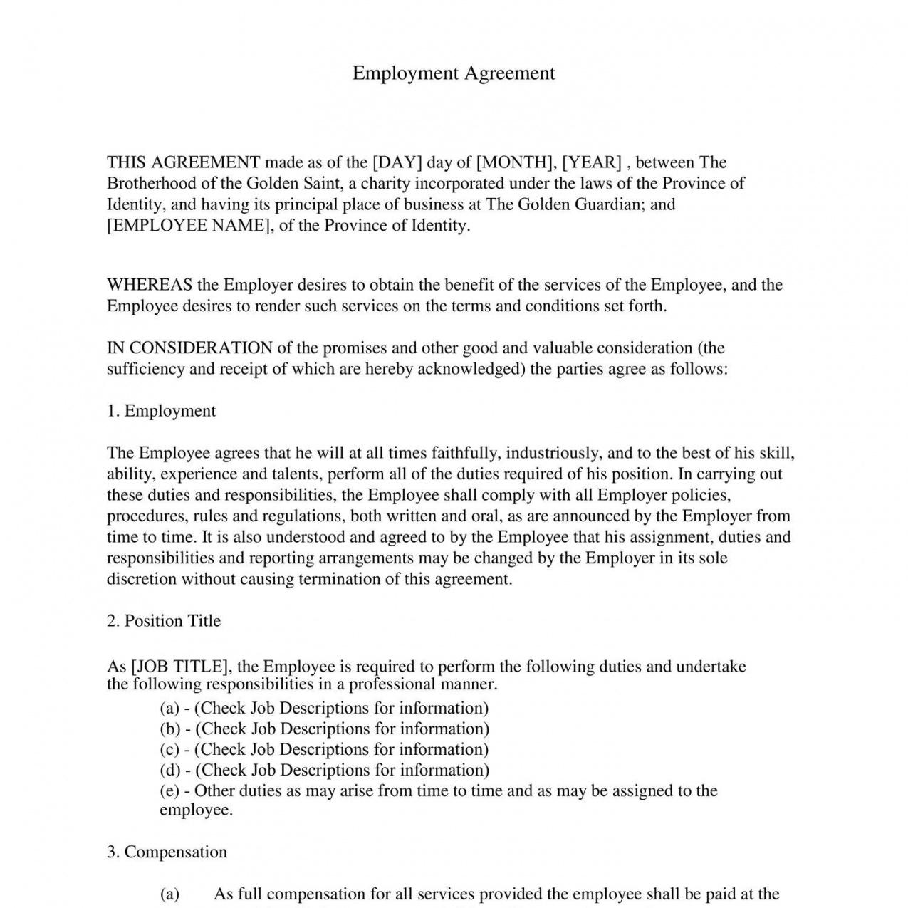 Costum Staffing Agency Contract Template Word