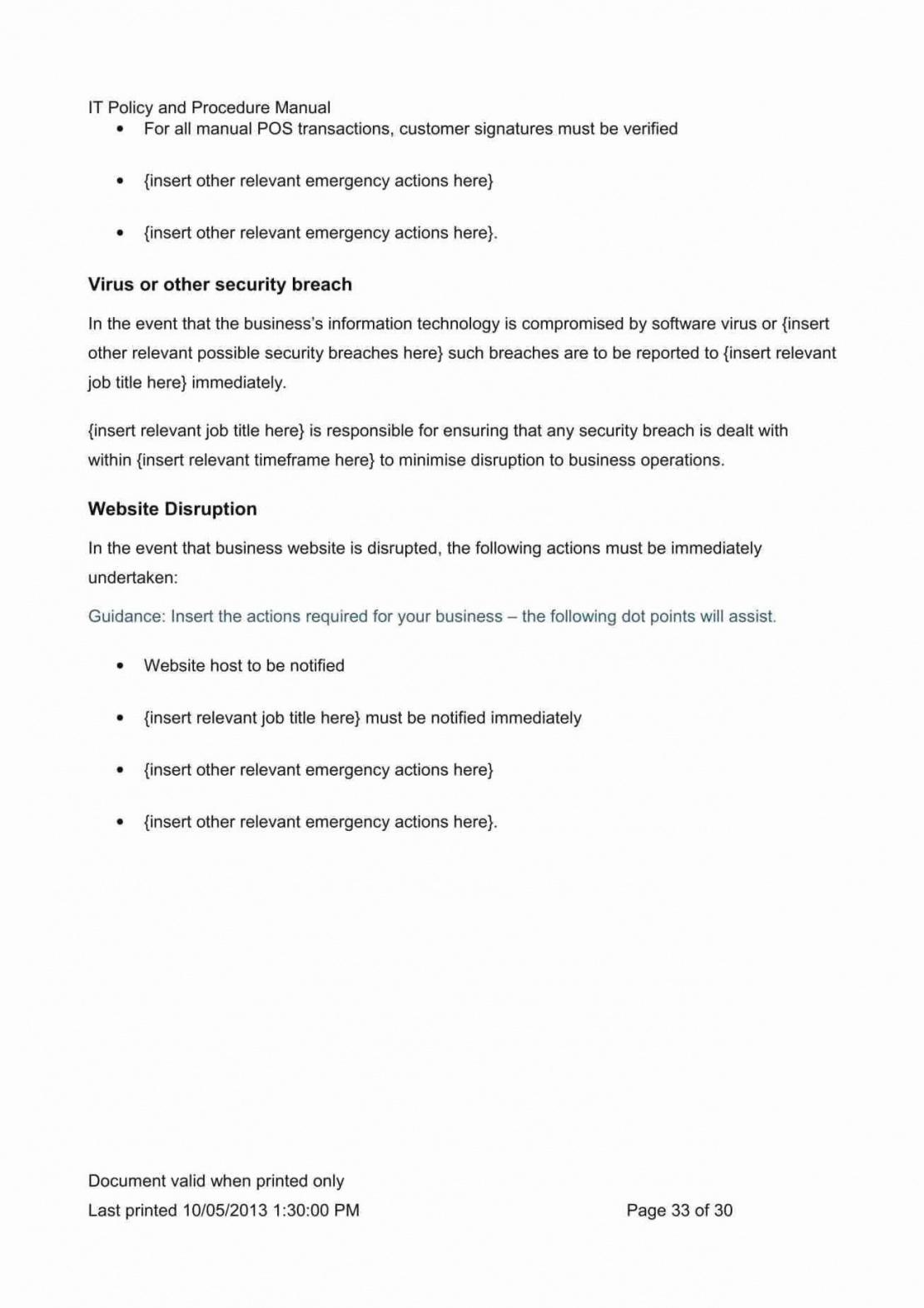 Cyber Security Policy Template Word Sample