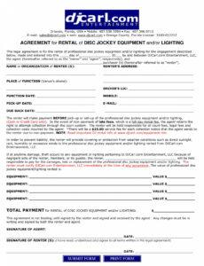 Dj Contract Agreement Template Word Example