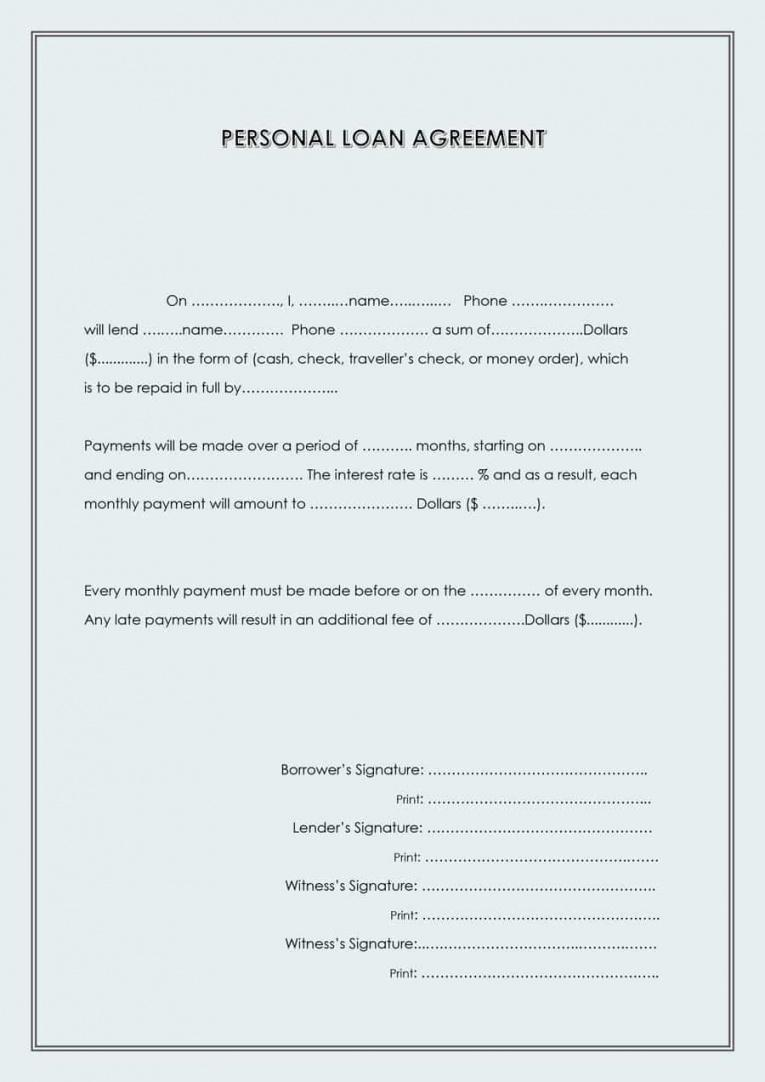 Editable Personal Loan Repayment Contract Template Doc
