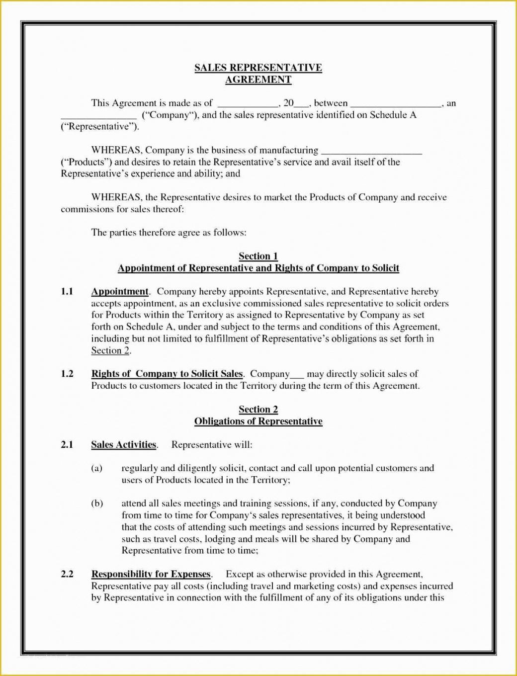 Editable Sales Rep Employment Contract Template  Sample