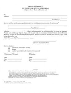 Free 30 Day Notice Contract Termination Letter Template Excel Sample