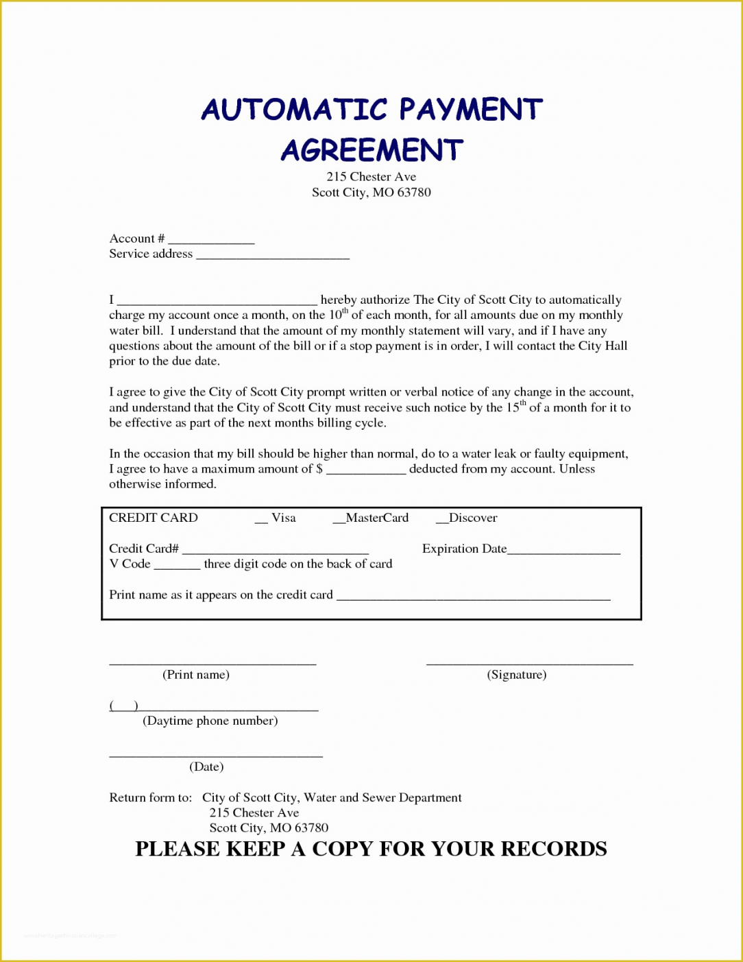 Free Auto Financing Contract Template Word Sample