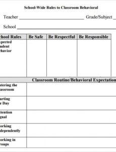 Free Behavior Contract Template For Elementary Students  Example