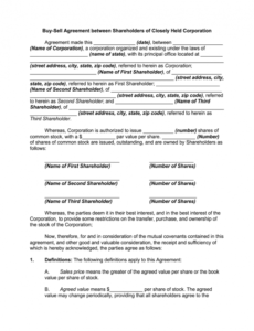 Free Buy Out Contract Template  Sample